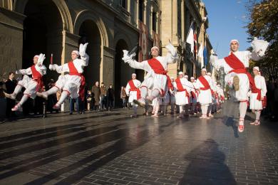 Basque dancers in full folk regalia costumers