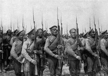 First World War Russian troops armed with M91 Mosin-Nagants