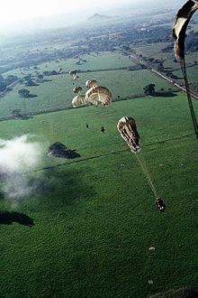 US_Army Parachutists during a drop into a hot LZ during Operation Just Cause